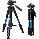 "Tairoad 55"" Camera Tripod Lightweight Compact Aluminum Alloy Travel Tripod with 3 Way Pan Head for Cameras Canon Nikon"