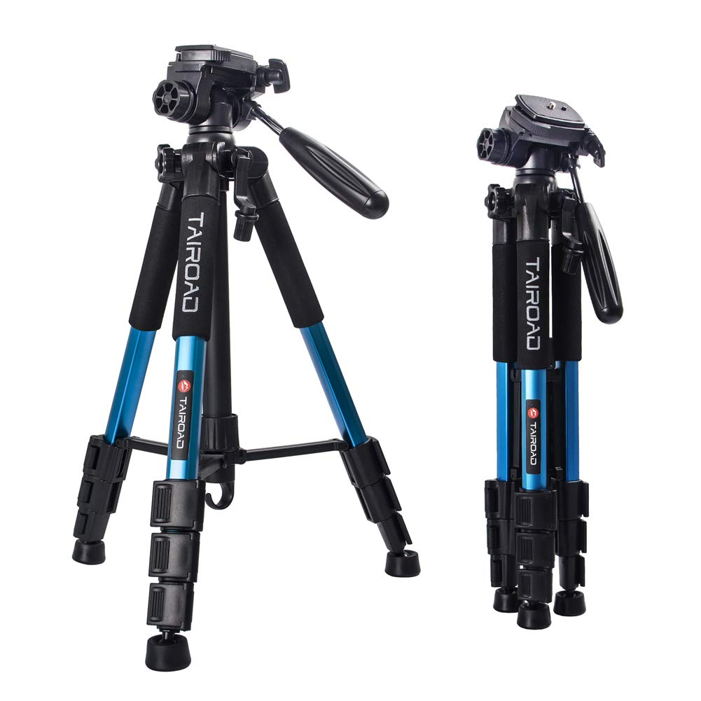 Tairoad 55'' Camera Tripod Lightweight Compact Aluminum Alloy Travel Tripod with 3 Way Pan Head for Cameras Canon Nikon