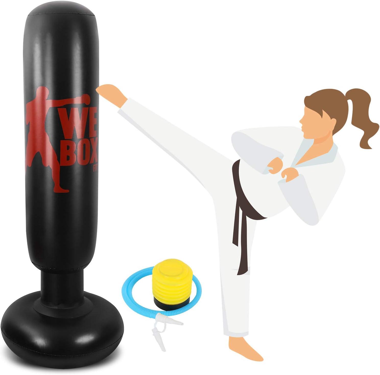 Winload Saco de Boxeo, 160cm Saco de Boxeo Hinchable de Pie para Niños, Fitness Boxeo Saco de Arena Columna Tumbler, Practicar Karate, Ejercicio y Alivio del Estrés para Adolescentes,con Bomba de Aire