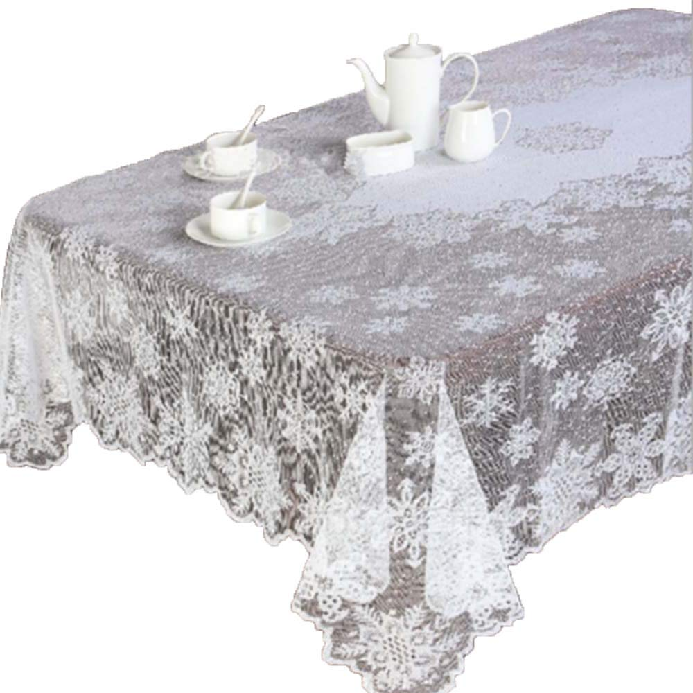 Transer- Table Cloth, Christmas Snowflake Table Cover White Vintage Lace Tablecloth Home Party Xmas Decor (White, Round - 70 Inches)