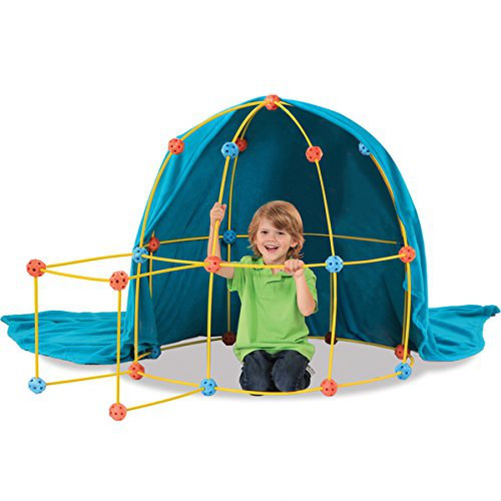 Easy To Assemble For Kids Ages 5 And Up Discovery Kids 69-Piece Flexible Construction Fort With Custom Connectors