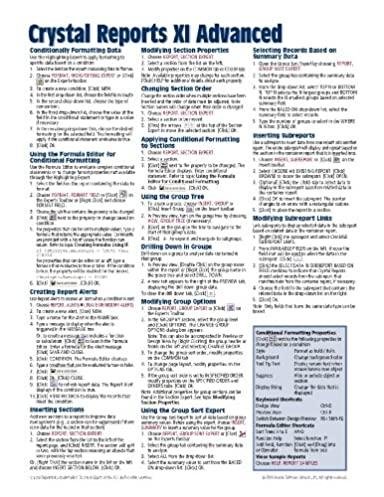 crystal reports xi quick reference guide advanced cheat sheet of rh amazon ca crystal reports xi quick reference guide Clip Art Reference Guide