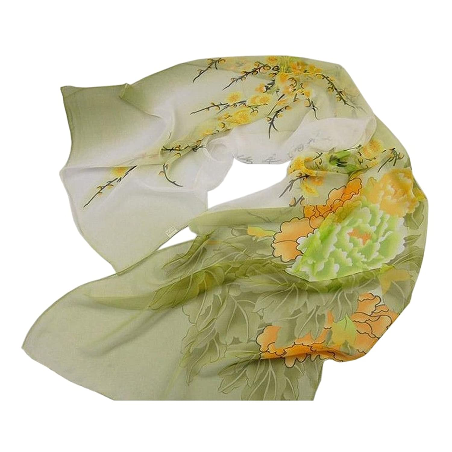 Fashion New Green Yellow Floral Georgette Chiffon Long Lady's Scarf Wrap Shawl