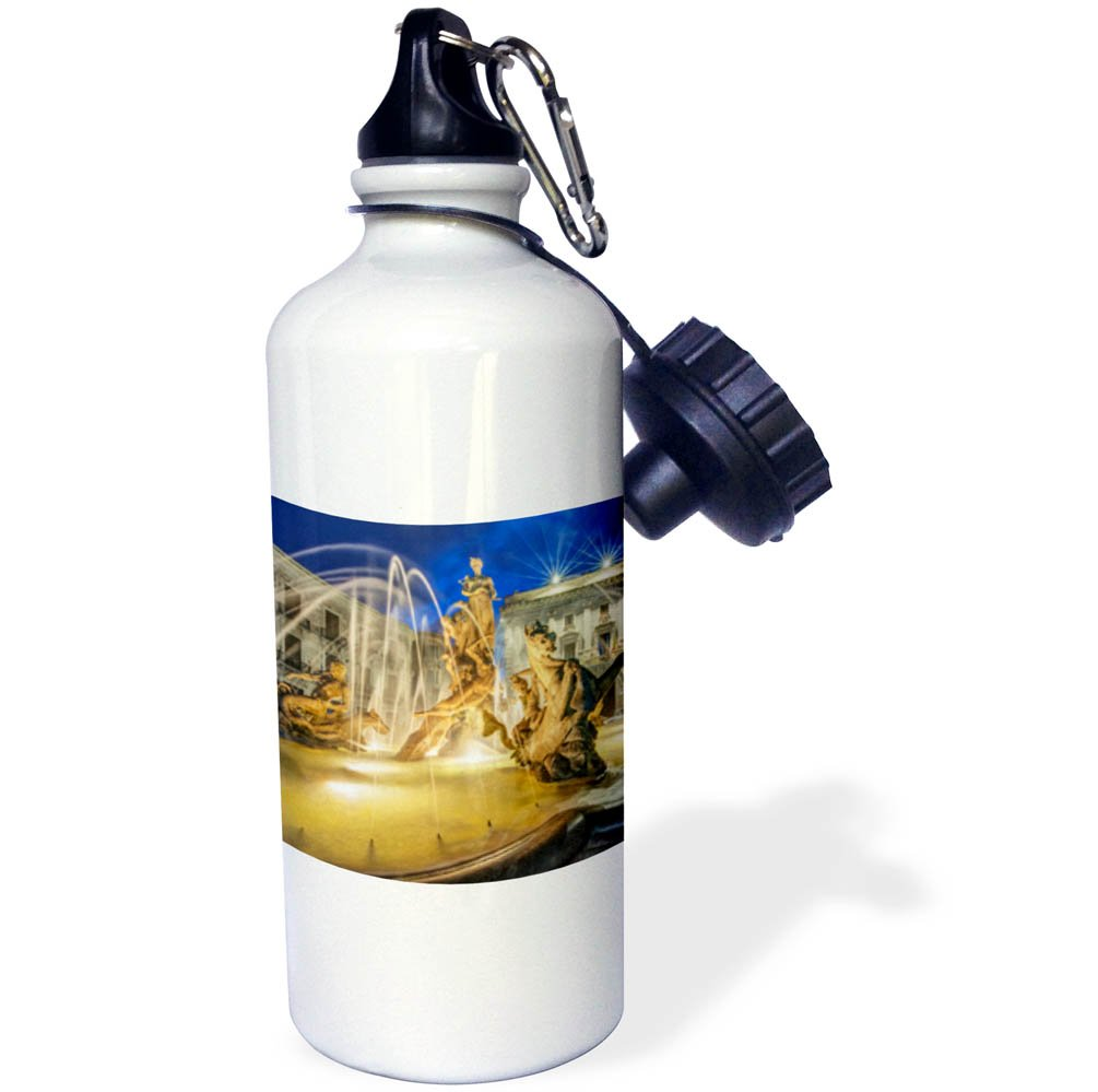 3dRose Danita Delimont - Fountains - Italy, Sicily, Syracuse. Twilight Piazza Archimede - 21 oz Sports Water Bottle (wb_277647_1)