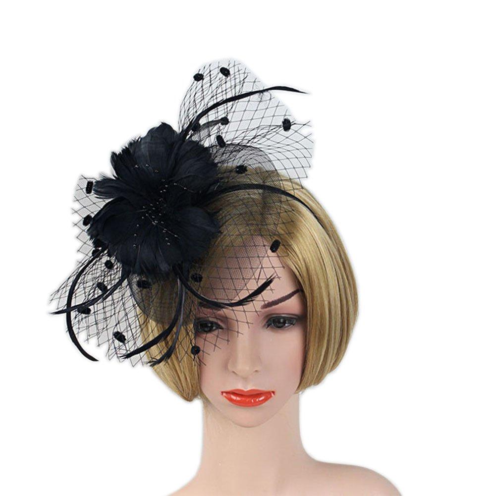 YSJOY Womens Feather Flower Dot Veil Fascinator Wedding Hair Aceessory Church British Bowler Hat Summer Derby Hat Cocktail Tea Party Headwear Black