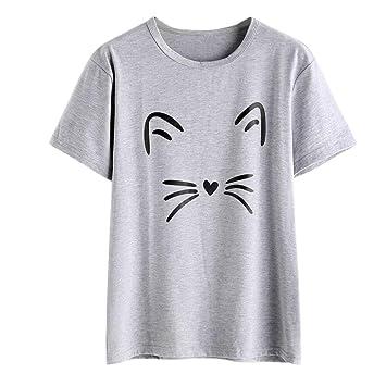 Cute camiseta, ubabamama mujeres moda casual manga corta o-neck gato impreso blusa causal