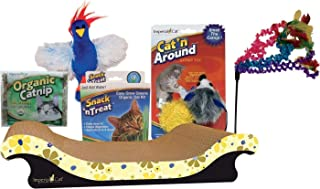 product image for Imperial Cat Starter Gift Set for Cat or Kitten. Kit Includes: Cardboard Scratch Board, Cat Grass, Wand Toy, and Catnip