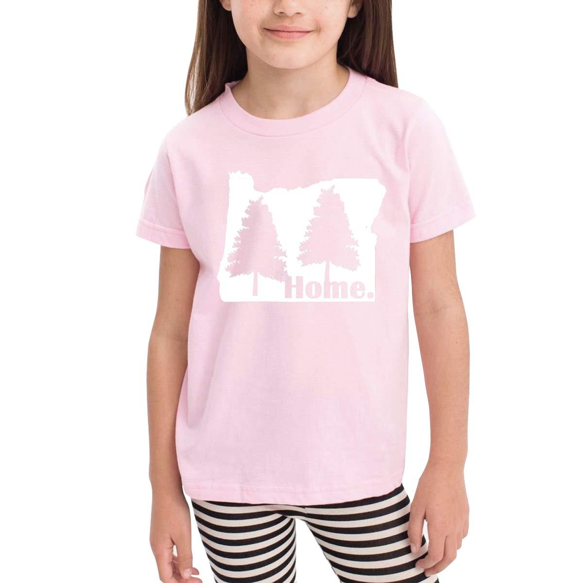 Kids T-Shirt Tops Black Oregon Pine Trees Home Unisex Youths Short Sleeve T-Shirt