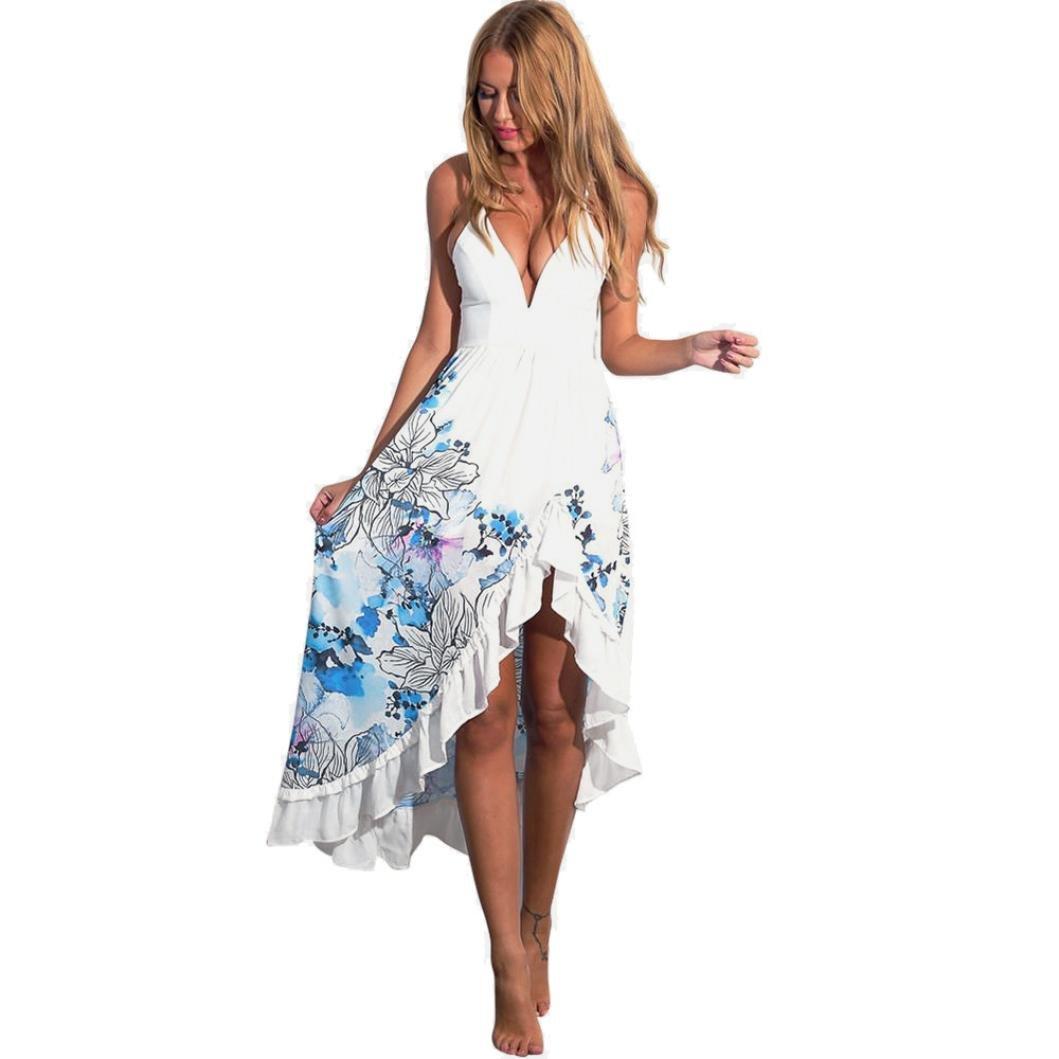 Women Maxi Dress,Boho Floral Print Skirt Strap Shirred Flowy Party Sundress Axchongery (White, M)