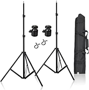 """2pcs 80inch Adjustable Aluminium Alloy Light Stands with 1/4"""" Mount Ball Head, Carrying Bag and Wire Harness Clips Vive Accessory for HTC Vive VR, Video, Portrait and Product Photography"""