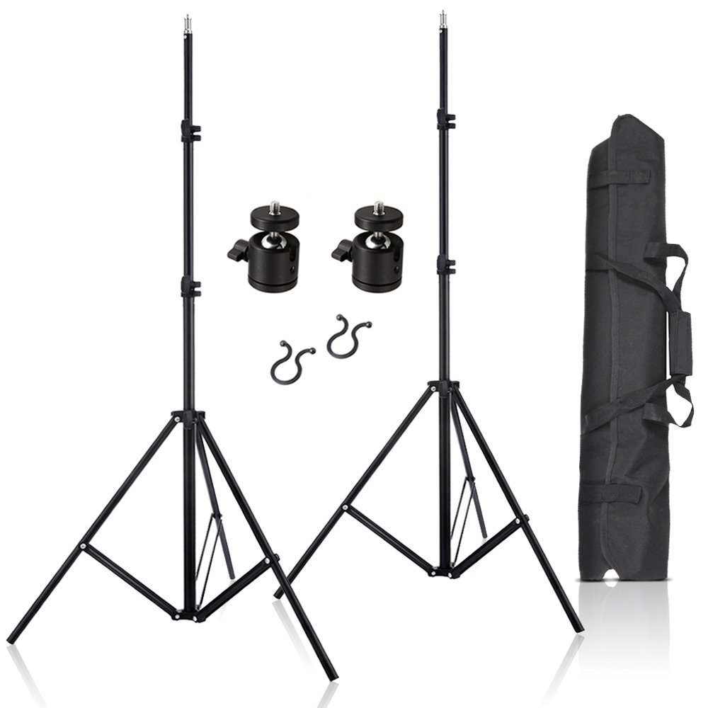 Selens 2 Pcs 80 Inch Adjustable Aluminium Alloy Stands With 1/4'' Mount Ball Head and Carrying Bag For VIVE VR
