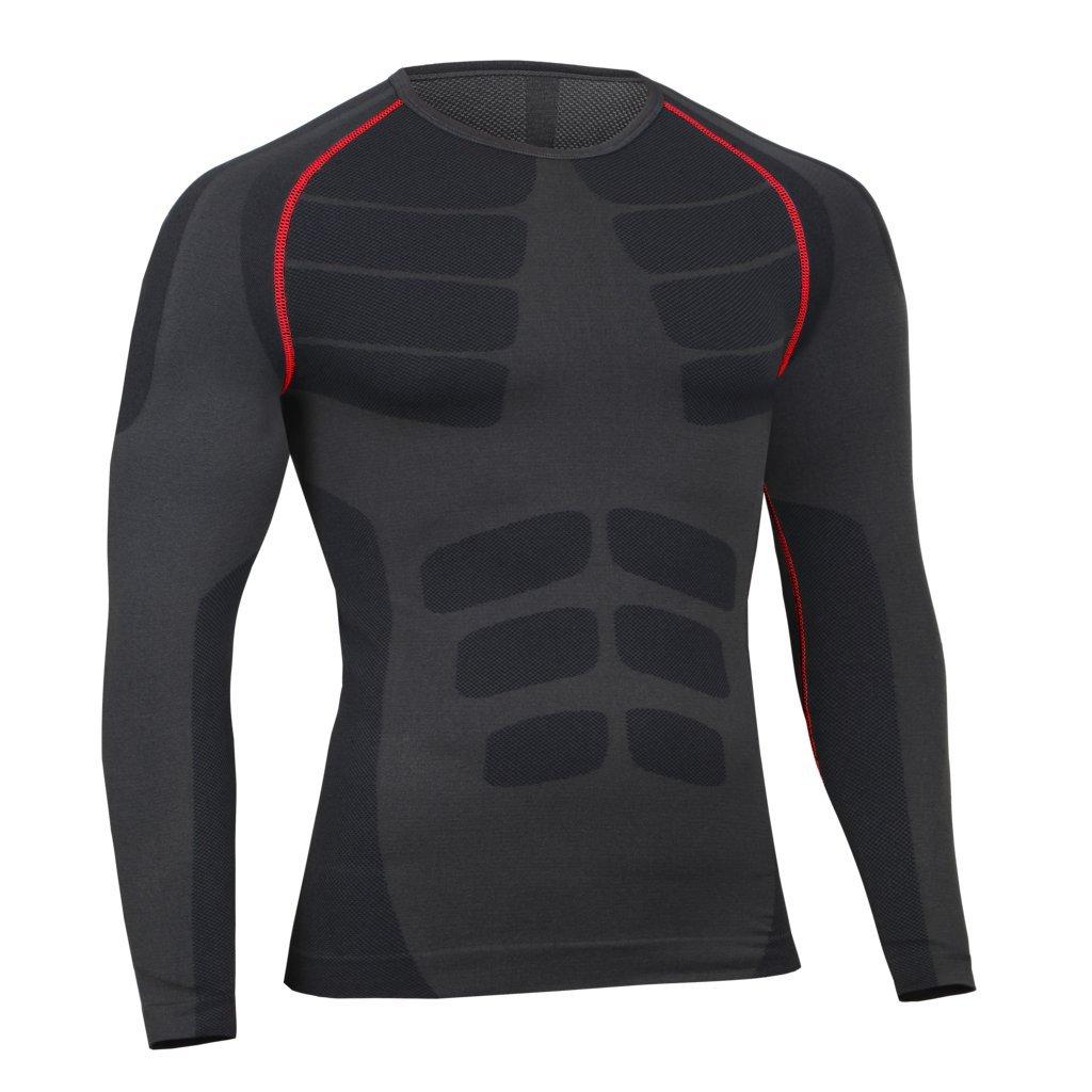 Bwiv Camiseta Hombre Deportiva Compresión Camiseta Interior Hombre Manga  Larga Fitness Gimnasio Aire Libre para Entrenamiento Ciclismo Talla M hasta  XL 3 ... 75dc32b0534c3