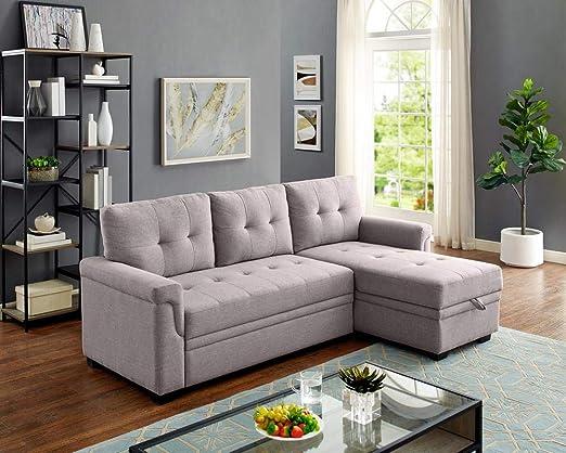 LILOLA Lucca Light Gray Fabric Reversible Sleeper Sofa Storage Chaise