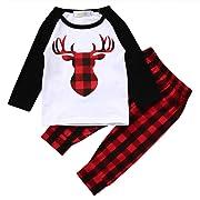 Newborn Baby Girls Boy Deer Long Sleeve Tops T-shirt Plaid Pants 2pcs Outfits Set (0-6 Months, Red)