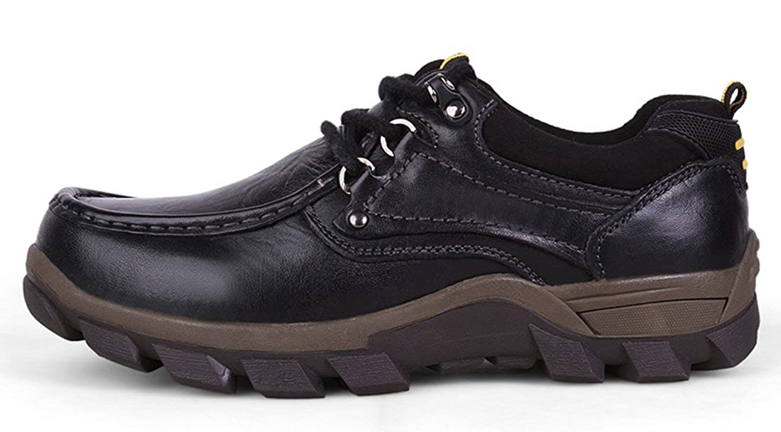 TDA Mens Casual Rubber Sole Lace-up Synthetic Anti-Skid Wear Outdoor Hiking Tooling Shoes