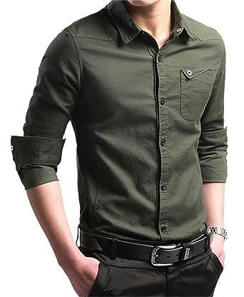 JZOEOEU Men's Casual Dress Shirt Long Short Sleeve Slim Fit Button ...