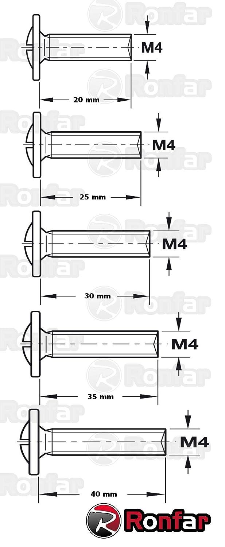 Poign/ée Vis pour Meuble Tiroir Armoire Cuisine Salle De Bains M4 x 35mm 100 Pi/èces RONFAR Combi Pozi Drive PZ