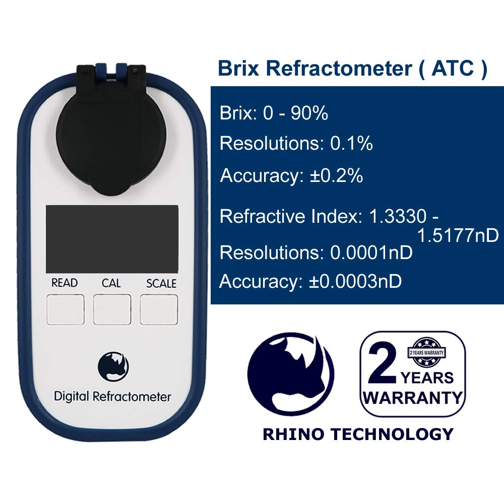 Rhino 0-90 Digital Brix Maple Syrup Jam Sauces Juice Refractometer ATC IP65 by RHINO TECHNOLOGY