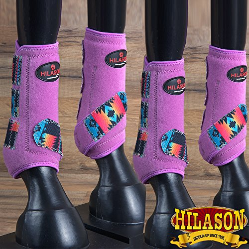 HILASON M Aztec Purple Horse Front Rear Leg Sports Boot 4 Pack from HILASON