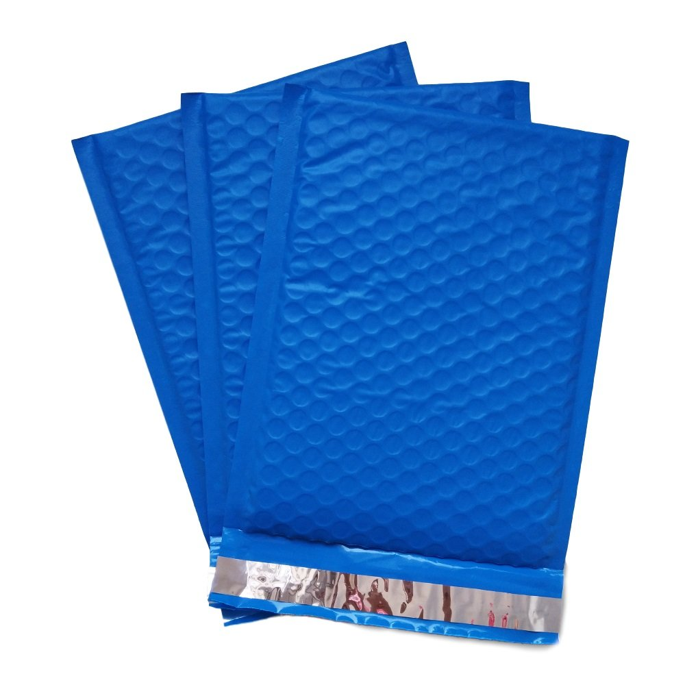 25 Count #0 6 x 10 Inch Oknuu Packaging Supplies Blue Poly Bubble Mailers Self-Sealing Shipping Envelopes Plastic Mailing Bags 6x9 Inner Size (25 Pack)