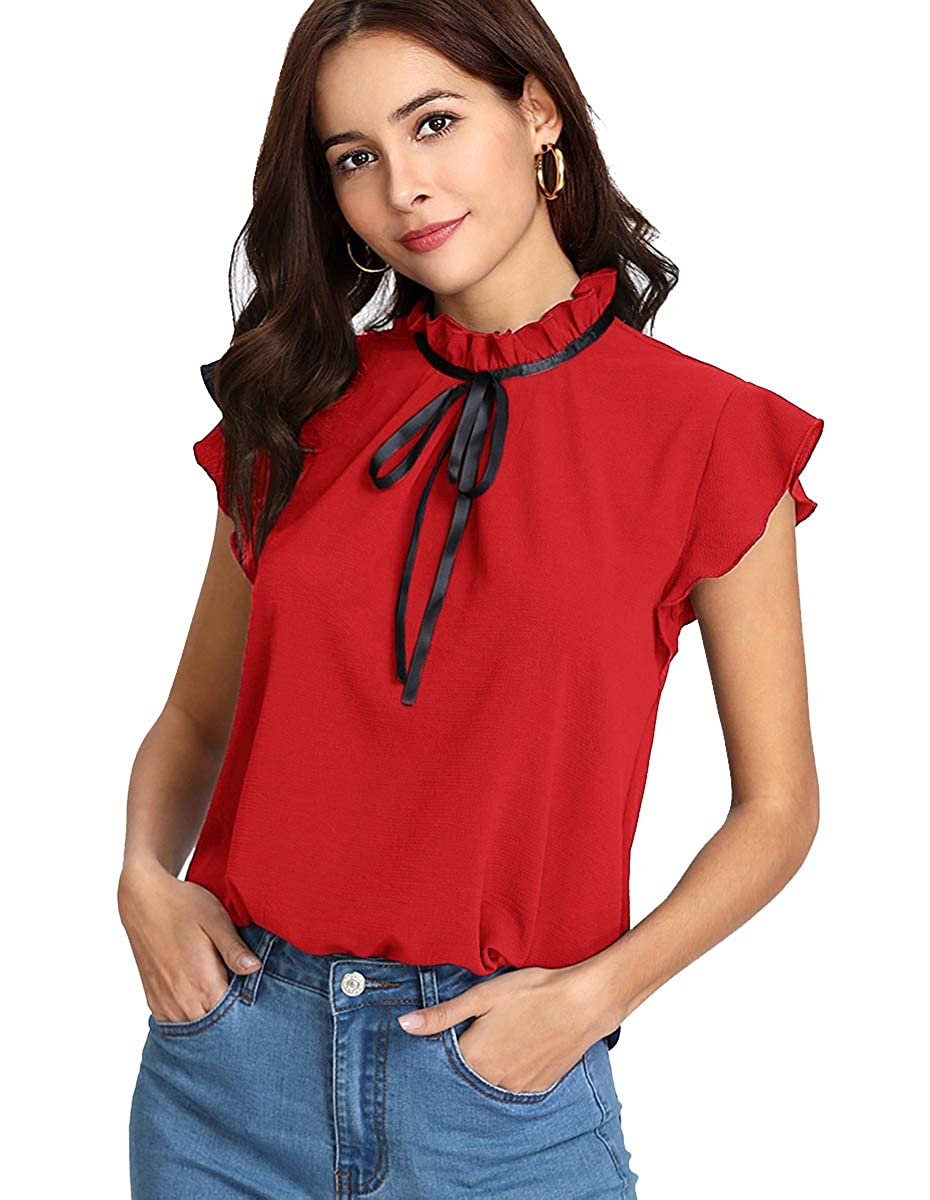 Red  Cap Sleeve Romwe Women's Casual Cap Sleeve Bow Tie Blouse Top Shirts