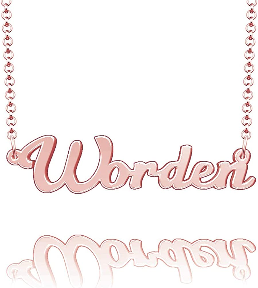 EV.YI Jewels Worden Custom Personalized Name Necklace Last Name Plate Pendant Gift for Family Mom Dad Friend Lover