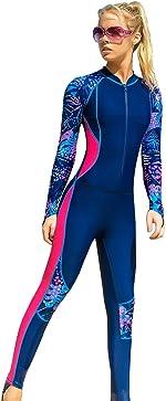 Akaeys Women's Full Body Swimsuit Rash Guard One Piece Long Sleeve