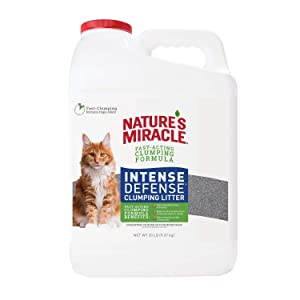 Nature's Miracle P-98133 Intense Defense Clumping Litter, 20 Pounds, Jug, Super Absorbent Fast-Clumping Formula, Dust Free