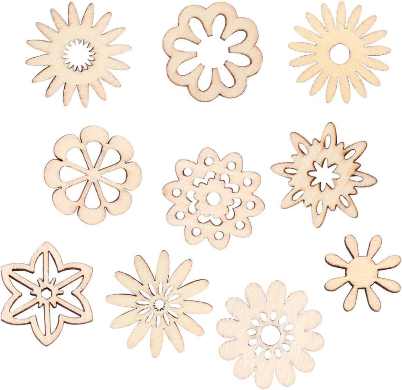 Garneck 100pcs Unfinished Wood Slices Flower Star Shape Wood Craft Embellishments Blank Wooden Slices Wooden Chips for DIY Scrapbooking Wedding Crafts