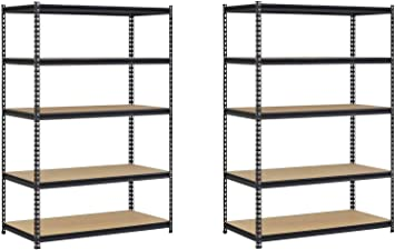 EDSAL URWM184872BK Black Steel Storage Rack 5 Adjustable Shelves 72 Height x 48 Width x 18 Depth 4000 lb Capacity