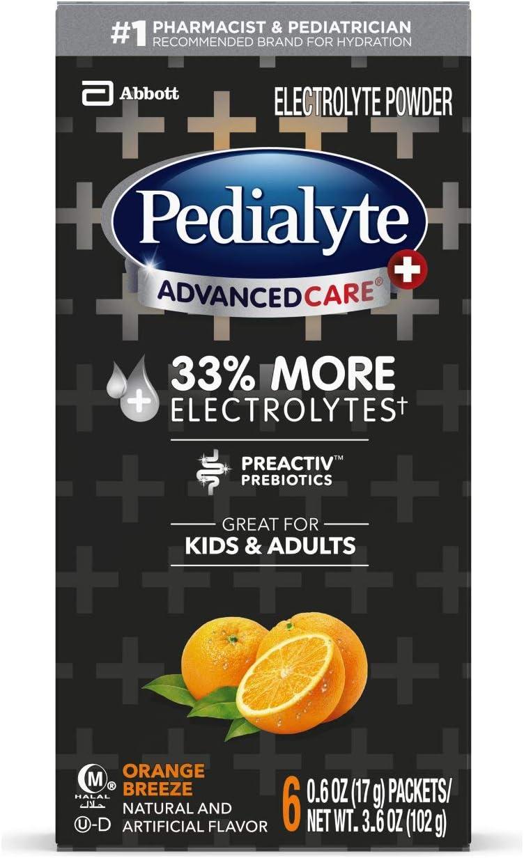 Pedialyte AdvancedCare Plus Electrolyte Powder, with 33% More Electrolytes and PreActiv Prebiotics, Orange Breeze, Electrolyte Drink Powder Packets, 0.6 oz, 6 Count
