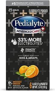Pedialyte Advancedcare Plus Electrolyte Powder, With 33% More electrolytes & Preactiv Prebiotics, Orange Breeze, Electrolyte Drink Powder Packets, 0.6 Oz (6 Count)