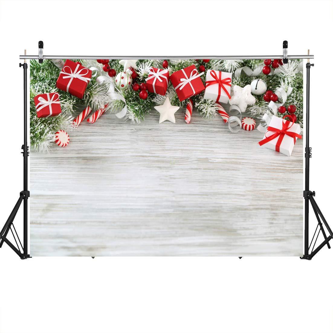LYWYGG 7x5ft Fondo de Pared de Madera Fotograf/ía de Navidad Contextos para fot/ógrafos White Snow Photo Background for Studio Photo Props CP-99