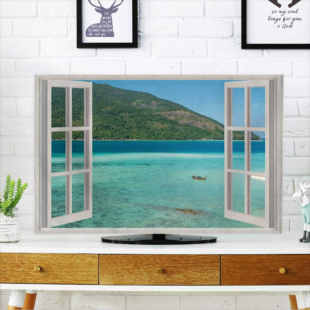 Cover for Wall Mount tv Summer,Travel,Vacation and Holiday Concept The Open Window,with sea Views in Phuket Cover Mount tv W19 x H30 INCH/TV 32''