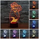 Amazing 3D illusion Effect LED Night Light Mermaid LED Desk Table Night Light Lamp 7 Color Change Acrylic Press Lamp Kids Children Holiday Gift Home Office Baby Room Decoration Night Light