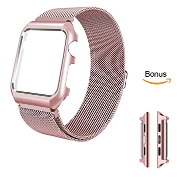 iBazal Compatible Apple Watch Series 3 Bracelet 38mm Métal, iWatch Bracelet  Apple Watch 38mm Milanese