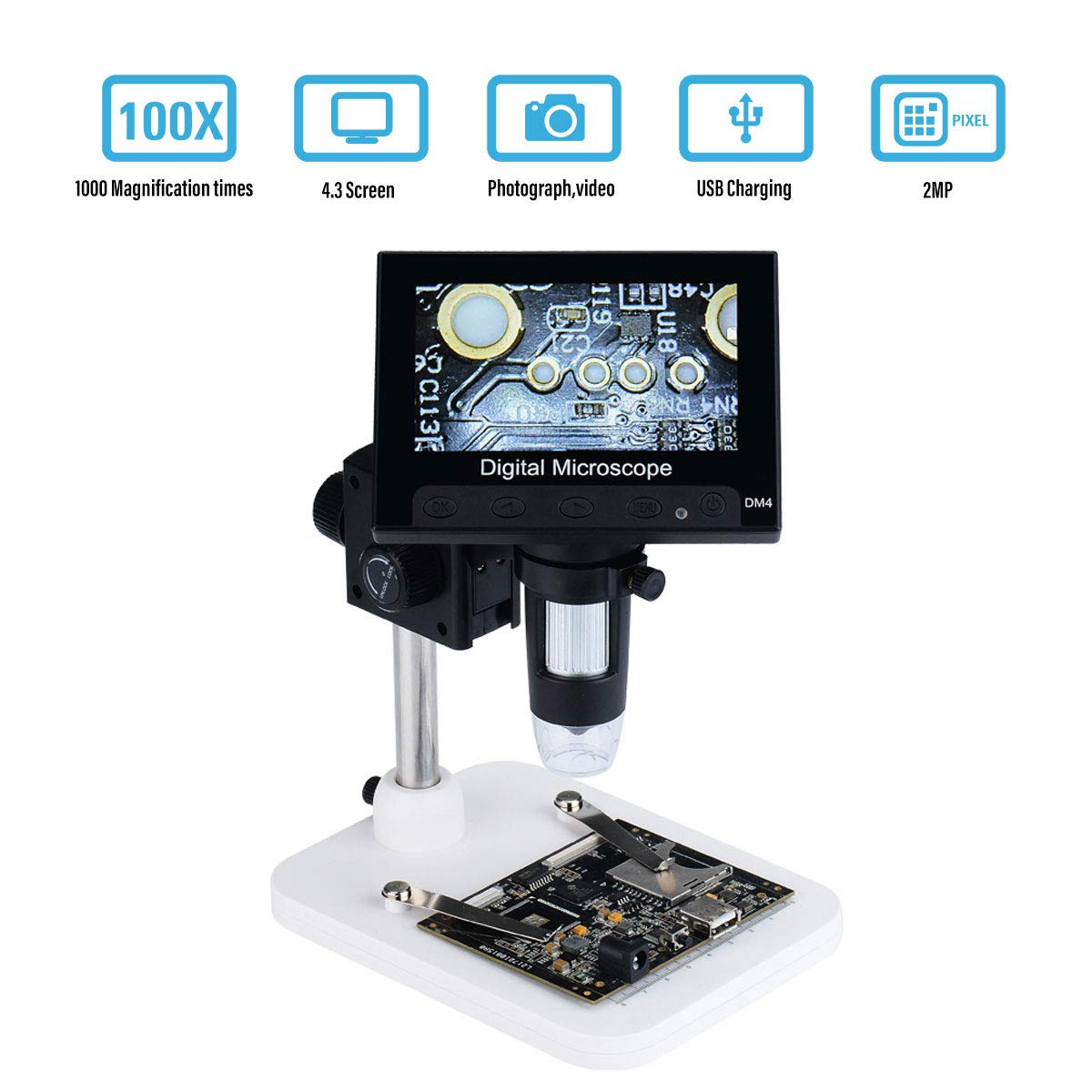 1000x 2.0MP USB Digital 4.3 LCD Display Lupa Port/átil Microscopio C/ámaras