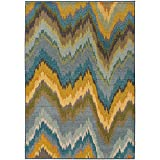 Super Area Rugs Distressed/Vintage Inspired Rug, Yellow Contemporary Chevron Non-Shed Living Room Carpet, 9′ 9″ X 12′ 2″ (10×12) Review