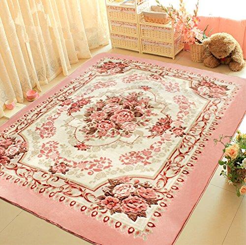 Judy Dre am European-style Pink Flowers Carpet Living Room Doormat Rose Bedroom Rugs Soft Baby Crawling Mat