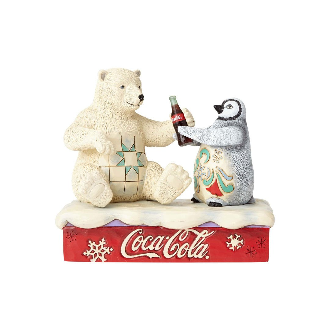 Enesco Coca-Cola by Jim Shore 4059474 Coke Polar Bear with Penguin Figurine