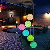 Topspeeder Color Changing Solar Power Wind Chime Spiral Spinner Crystal Ball Wind Mobile Portable Waterproof Outdoor Decorative Romantic Wind bell Light for Patio Yard Garden Home Pathway