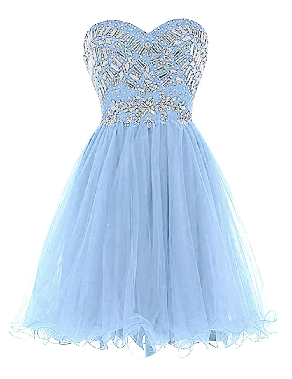 Light bluee Uther Sweetheart Cocktail Dresses Tulle Beading Knee Length Homecoming Prom Dress