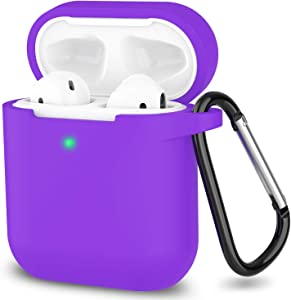 AirPods Case, Full Protective Silicone AirPods Accessories Cover Compatible with Apple AirPods 1&2 Wireless and Wired Charging Case(Front LED Visible),Purple