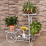 Wrought iron flower layers, floor indoor flower balcony, European Garden shelf, plant stand a few flower stand (702565cm) ( Color : White )