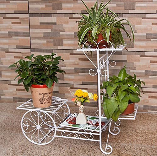 Wrought iron flower layers, floor indoor flower balcony, European Garden shelf, plant stand a few flower stand (702565cm) ( Color : White ) by Flower racks