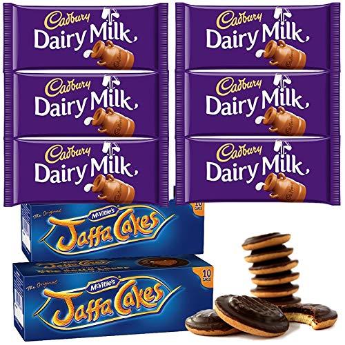 McVities Jaffa Cakes Two Boxes + Cadbury Dairy Milk Chocolate   Total 6 bars of British Chocolate Candy - Cadbury Dairy Milk Chocolate 45g each ()