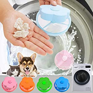 4PCS Pet Fur Remover Hair Catcher Pouch Flower Floating lint mesh Bag Reusable Washing Machine Filter net lint Trap with Laundry Ball