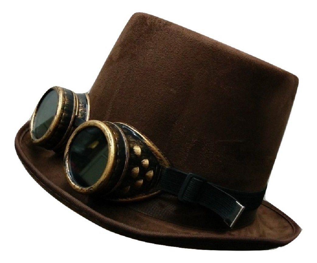 Steampunk Brown Suede Bell Topper Top Hat with Gold Goggles Costume Accessory