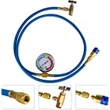 N A Air Conditioning Refrigerant Recharge Hose with Gauge for R134A R12 R22,Quick Coupler, Can Tap (59inch)