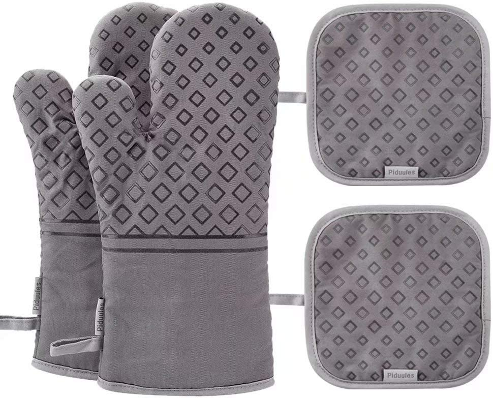 Piduules Set of 4 Oven Mitts and Pot Holders, 482 F Heat Resistant Hot Plate Moving Non-Slip Gloves for BBQ, Grill, Baking, Cooking, Oven, Microwave (Gray): Kitchen & Dining